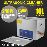 Digital 10L 250W Ultrasonic Cleaner Heater Timer Bath Sonic with Transducer Injector Industrial Parts Lab Medical Tools