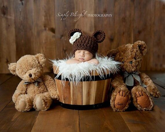 Patrón de oso Animal de ganchillo bebé flor sombreros gorros ...