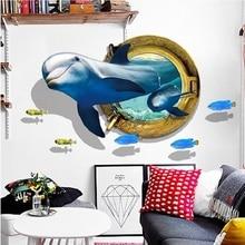 3d Whale Smile Broken Wall Sticker Pvc Decal Decorative Mural Art Diy Poster