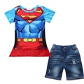 free delivery 2016 new boy set Children hot summers superman batman T-shirts + cloak + jeans three-piece suit baby kids clothes
