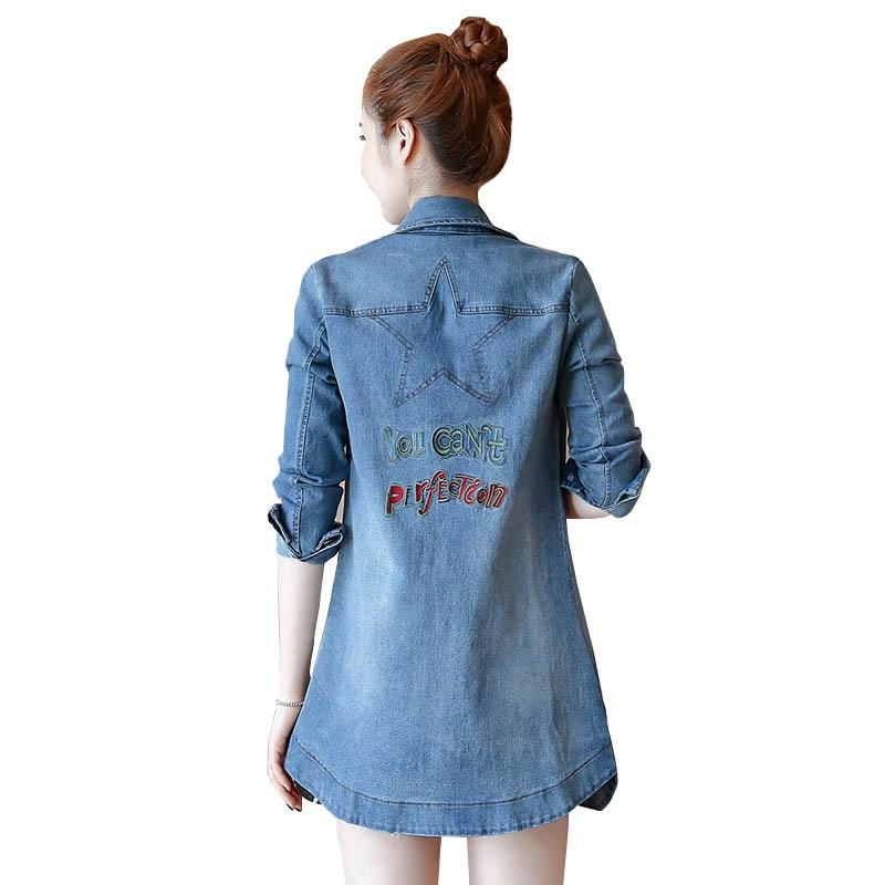 Donne Blue Jeans Coreano Di Sportiva Blue Dimensioni 2019 navy Cappotto Tuta Lungo Denim Light Womans Grandi 5xl Medio Primavera Vs387 Giacca Casual Autunno Nuove 5pwPPqI1