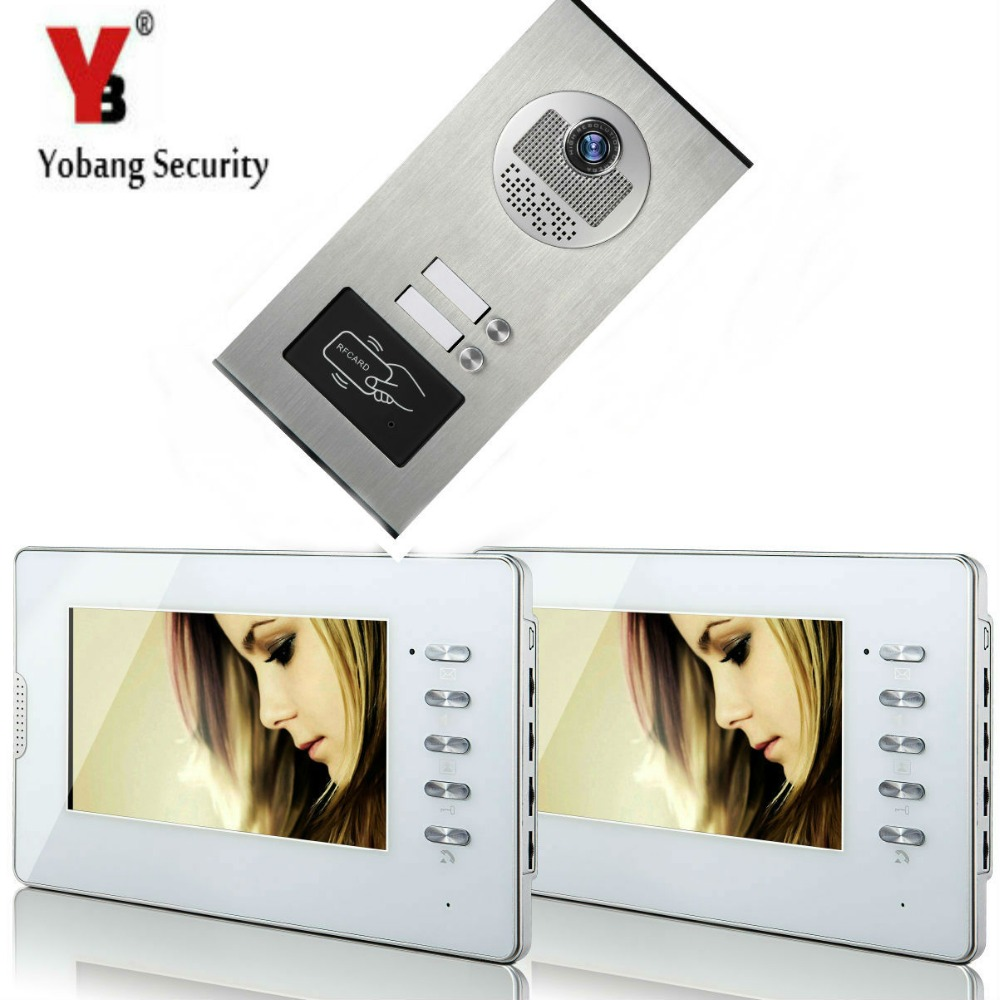 Yobang Security 2 Units Apartment RFID Access Camera 7'Inch Monitor Wired Video Door Phone Doorbell Speakerphone Intercom System smartyiba wired 7inch monitor video intercom door phone doorbell system outdoor rfid access camera intercom for 5 apartment