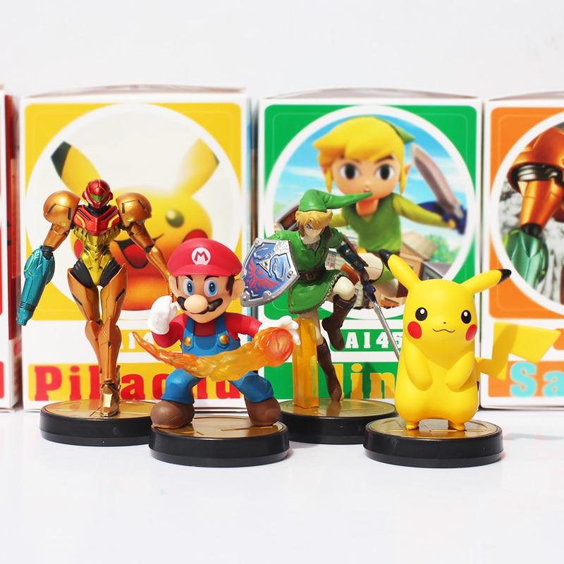 4pcs/Lot Super Mario BrosThe Legend of Zelda Sam Slim Samus Aran Action Figure Figures Dolls Toys Retail Free Shipping