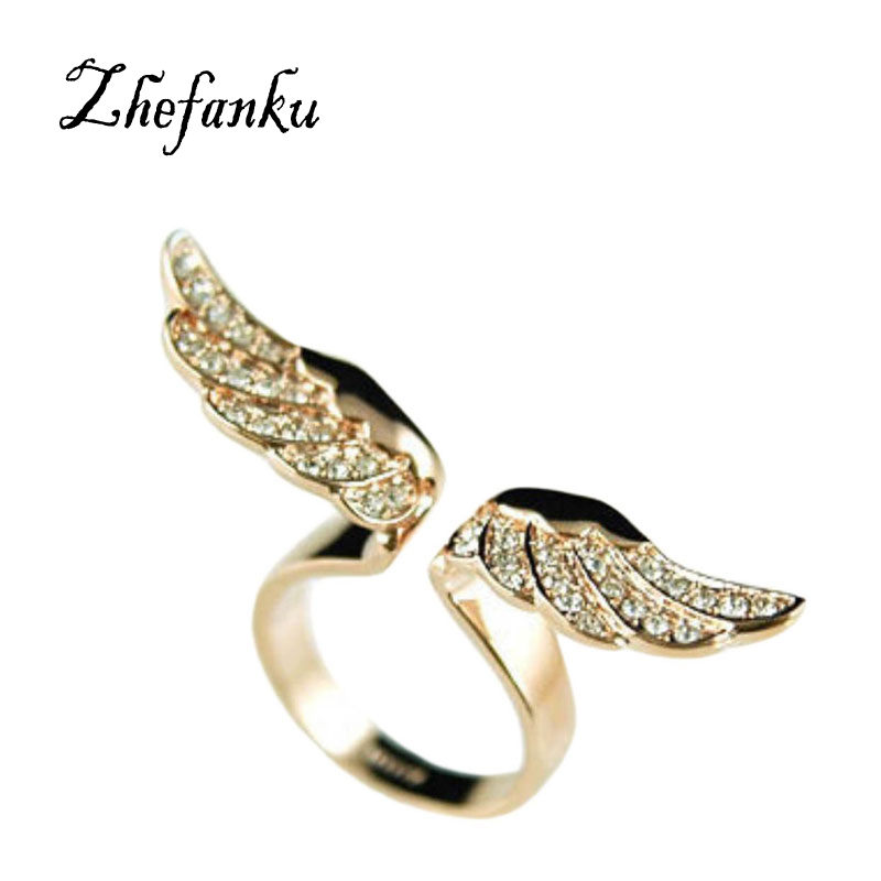 2017 Fashion Jewelry Personalized Golden Angel Wings Full Rhinestone Lady Ring Female Models