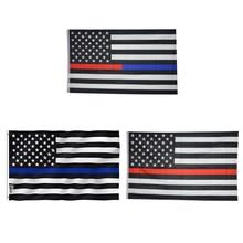 90*150 cm USA Politie Vlaggen Dunne Amerikaanse Nationale Banner Wit En Blue Stars Gedrukt Strip met Messingsdichtingsringen