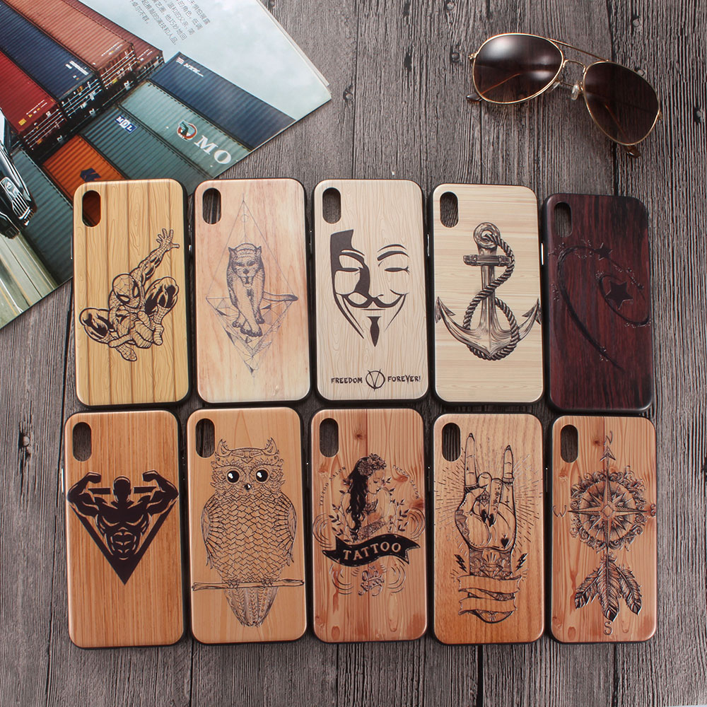 Transformers Superman Owl Mermaid Tattoo Imitation wood For iPhone X XS Max XR 6 6plus 6S 7 8 Plus Wooden Case Cover 3D Relief image