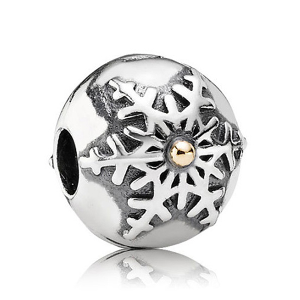 Authentic 925 Sterling Silver Bead Charm Vintage Snowflake Clip Stopper Beads Fit Pandora Bracelet Bangle DIY Jewelry