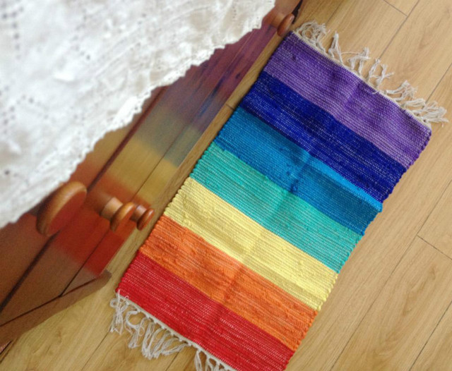 Keuken Kleine Kleur : 40x70 cm katoen handgemaakte weven regenboog kleur tapijt keuken