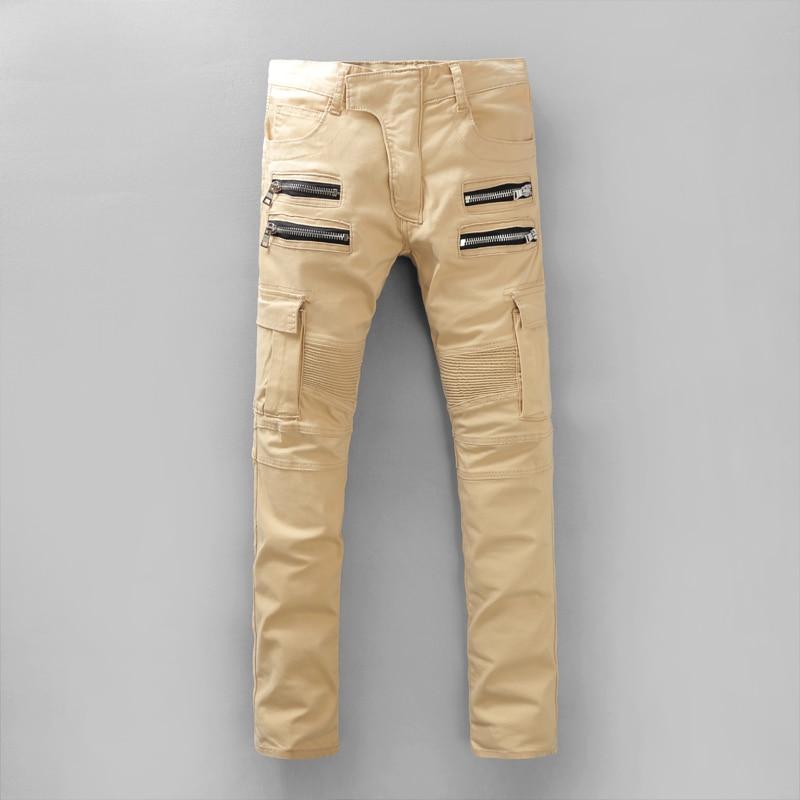 Famous Brand Mens Skinny Jeans Men Runway Spliced Jean Denim Biker Jeans  Hip Hop Overalls Cargo Pants Washed Khaki Jeans ForMen