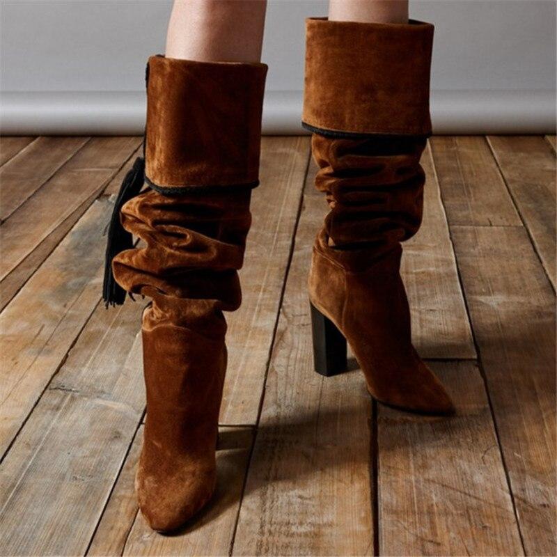 Taille De Bottes 35 Chaussures Longues Le Genou Troupeau Femmes 46 Mode D'hiver Cuir Sexy Sur Chaud En Extrême Haute Brun Talons xfOIqUw