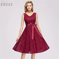 New Ladies Plus Size A Line Lace Short Evening Dresses 2019 Elegant V Neck Sleeveless Cocktail Gown With Sashes