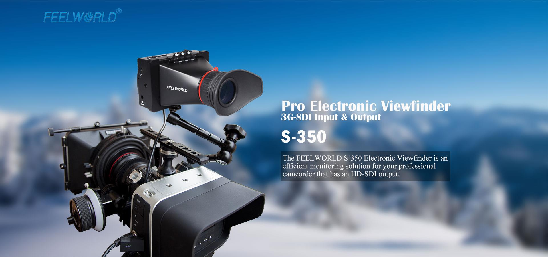 Feelworld S350 3.5 EVF 3G-SDI HDMI Electronic Camera View Finder Video Monitor for Cinema and Broadcasting