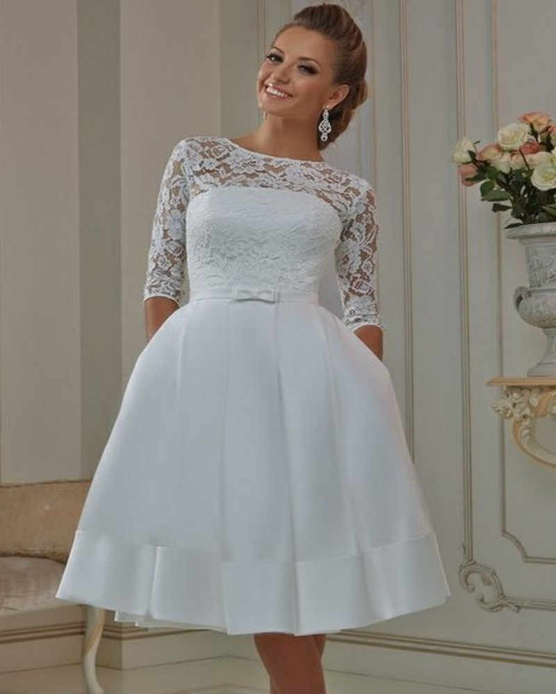 2016 Hot Sale Cheap Lace Short Wedding Dress Sexy Half Sleeve Knee ...