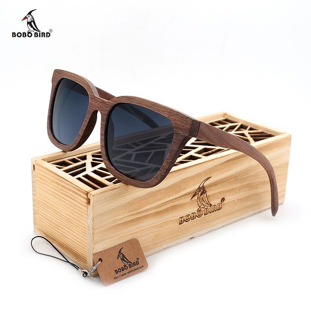 Bobo pássaro top de design da marca new homens óculos de sol de madeira da noz preta de madeira de grandes dimensões óculos de sol óculos de sol de madeira com caixa de madeira