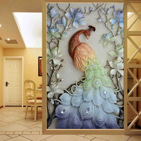 Megayouput Diamond Painting Cross Stitch Animal Entrance Home Decor FULL Diamond Embroidery Diamond Mosaic Peacock Home