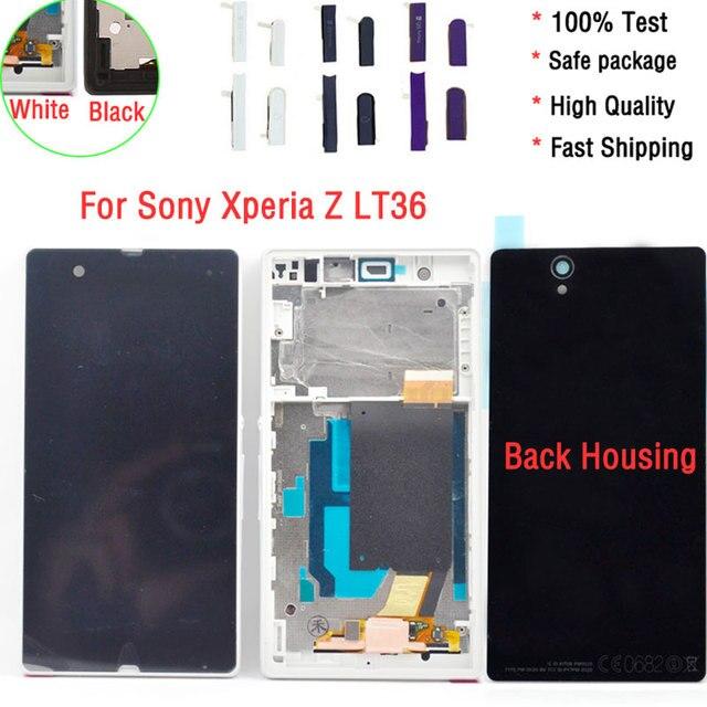 100% Тест Для Sony Xperia Z C6603 L36 L36h LT36 ЖК-дисплей С Сенсорным Экраном С Рамкой и Задней Стеклянной Крышкой Новый
