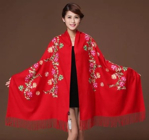 Image 4 - New embroidery Flowers scarf women Cashmere cotton viscose shawls soild plain embroider scarfs muslim tassels hijabs GP02