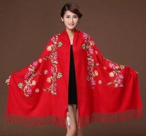 Image 4 - חדש רקמת פרחי צעיף נשים קשמיר כותנה ויסקוזה צעיפי soild רגיל לרקום צעיפים מוסלמי גדילים hijabs GP02