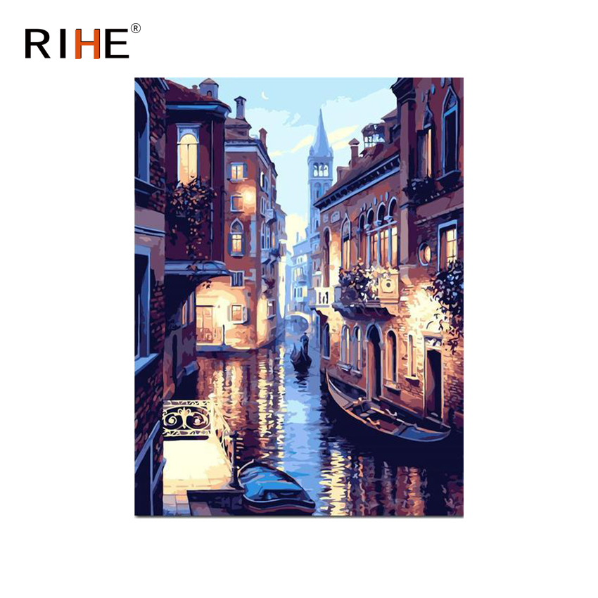 RIHE Venice Boat Diy Painting By Numbers Abstract River Oil On Canvas Cuadros Decoracion Acrylic Wall Picture For Room