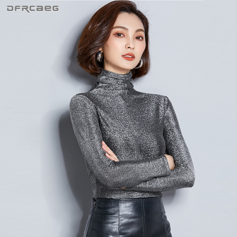 Turtleneck Bright Blouses Women 2019 Autumn New Arrivals Fashion Long Sleeve Shirts Clothing Slim Ladies Streetwear Female Tops