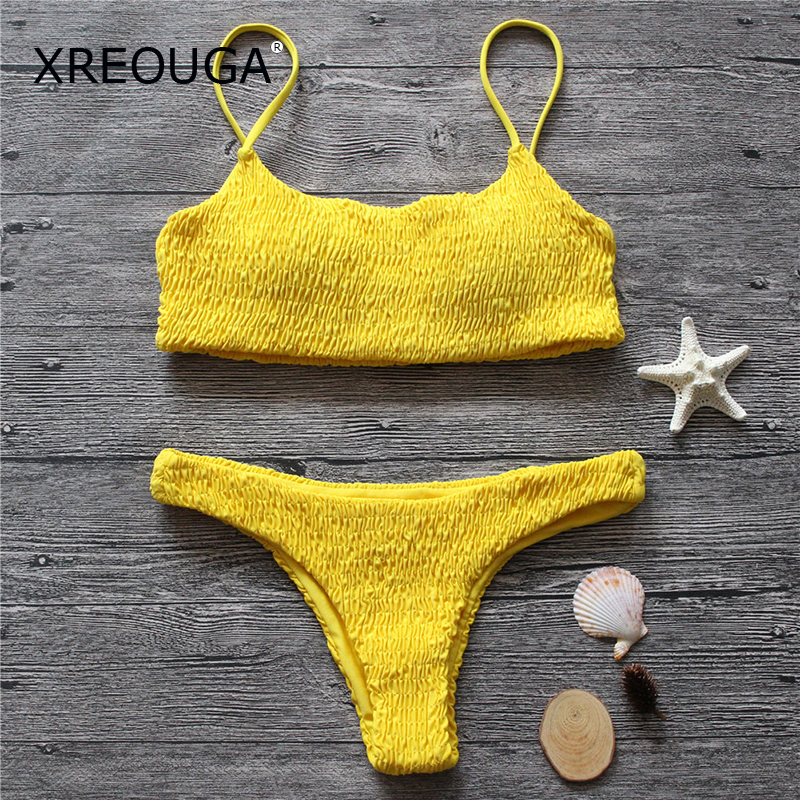 Buy XREOUGA Sexy Solid Ruched Swimming Suits Beach Low Waist Bikini Sets Women Qualited Halter Bandage Swimwear New Concise Biquini