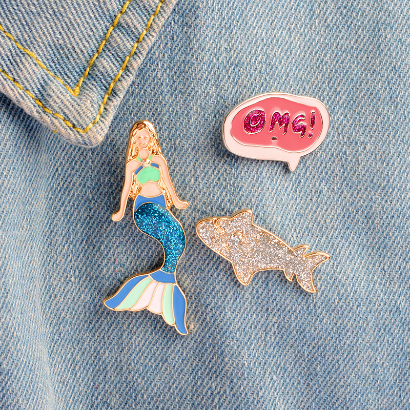 Shiny Mermaid Silver Shark OMG Icon Brooch Delicate Beauty Princess Fairy Animal Lapel Pin Delicate Fashion Cute Girl Gifts