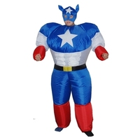 Adult Halloween Inflatable Superman Costumes Captain America Suit Masquerade Party Entertainment Show Clothes With Hood