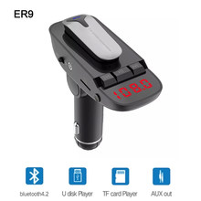 Er9 Car Kit Headset FM transmitter Bluetooth Handsfree AUX Audio Music Car MP3 Player USB Charger Support TF Card / U Disk Play(China)