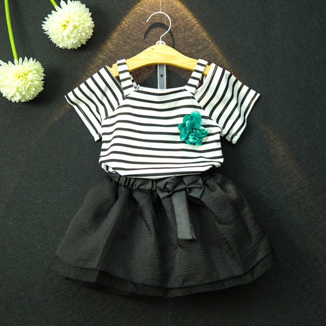 a6a6ad8c4 Summer New Baby Girls Clothes Stripped Vest T-Shirt Top+Black Skirt Girl  Dress Set Fashion Design Kids Clothes Girls 2 Pcs Suit