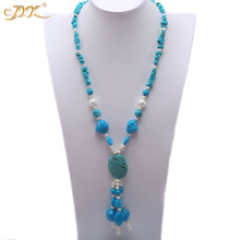 JYX Elegant Blue green Long Turquoise Necklace 5*10mm Irregular Gemstone 29 Jewelry gift