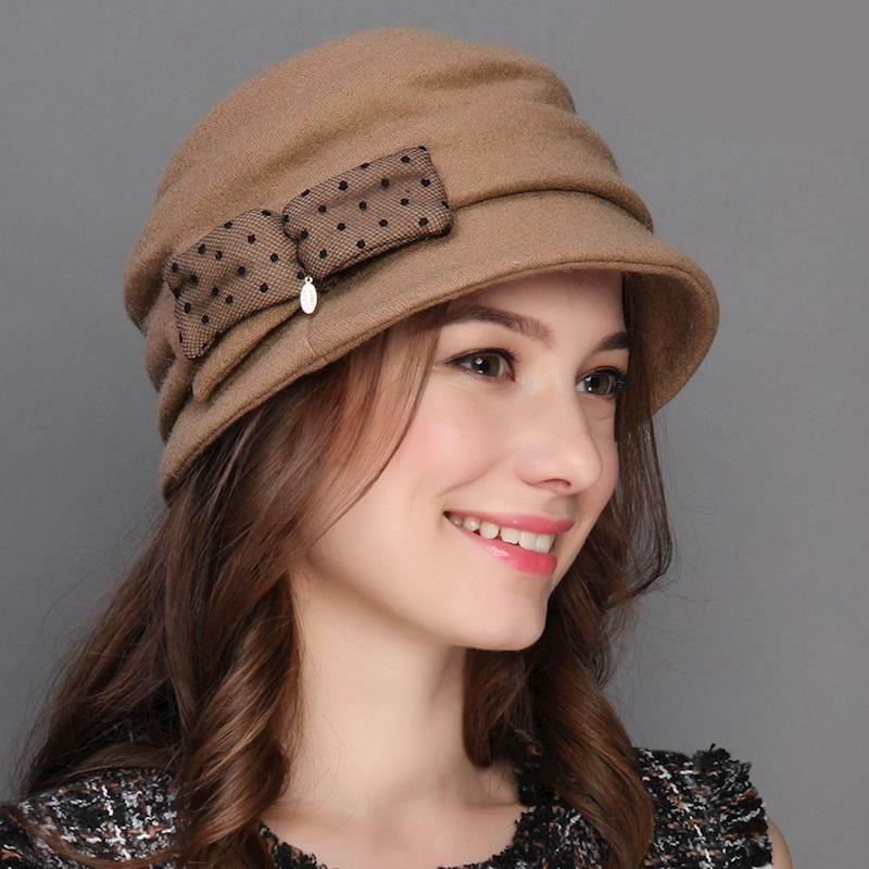 Autunno Inverno 100% Lana Tesa Larga Vintage Fedora Cappelli Neri Per Le Donne Elegante Bowknot Feltro Cappelli A Cloche M5254