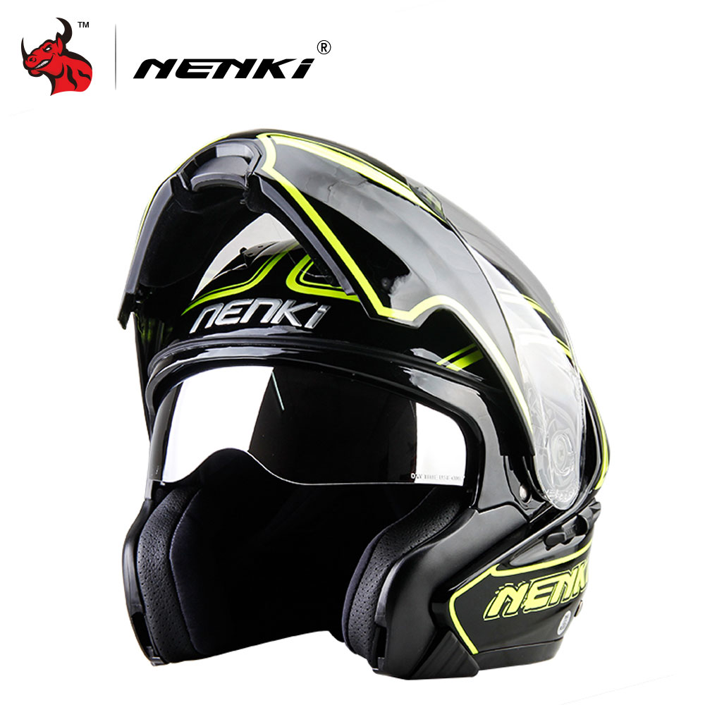 NENKI Motorcycle Helmet Double Lens Moto Helmet Men Women Full Face Motocross Helmet Capacete De Moto With DOT Certification nenki motorcycle helmets motocross racing helmet motorbike full face helmet capacete de moto for men and women 13 color