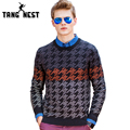 TANGNEST Round Collar Mne's Patchwork Print Autumn & Winter Sweater Dark Gray Asian Size Knitted Pullover MZL728