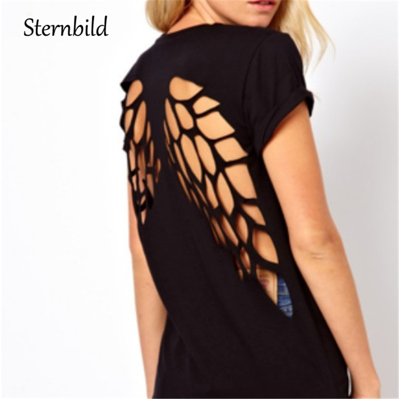 Women Angel Wing Back Hollow Out T-shirt Femme O neck Solid Plus size Shirt Black das mulheres Cotton S-5XL