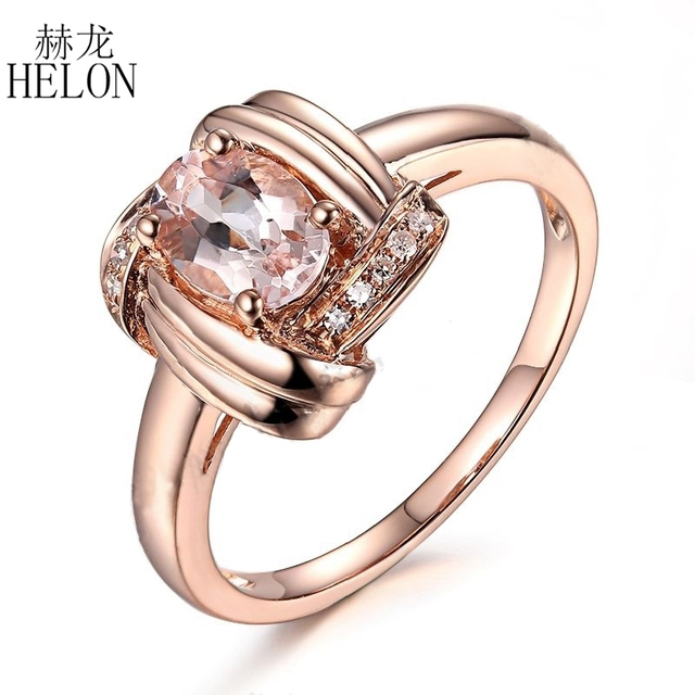 HELON Solid 14K Rose Gold Oval Cut Morganite Natural Diamond Unique