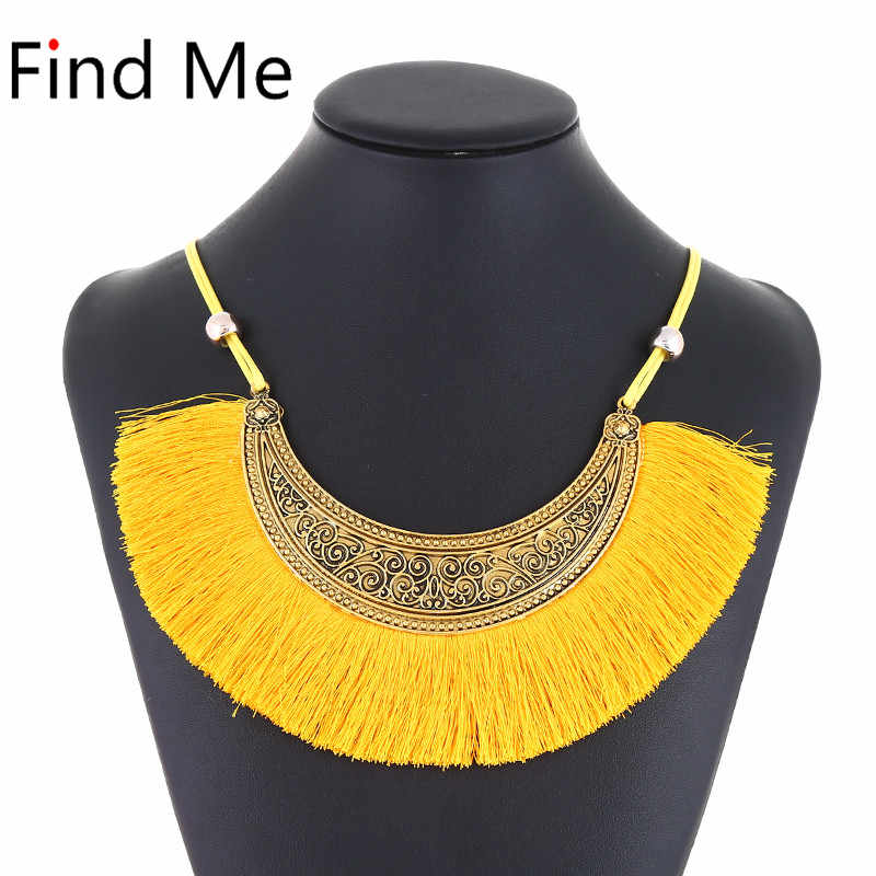 Find Me 2019 brand fashion wholesale long tassels collar choker necklace vintage ethnic maxi statement necklace women Jewelry