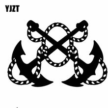 YJZT 15.6CM * 10.4CM Helm Gekruiste Ankers Schip Zee Navy Vinly Decal Decor Auto Sticker Luxe Zwart/ zilver C27-0444(China)