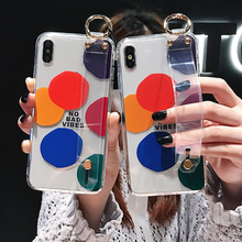 wristband holder tpu case for iphone 8 7 6 6s plus XR X XS MAX cover fashion patterned transparent soft silicon phone bag