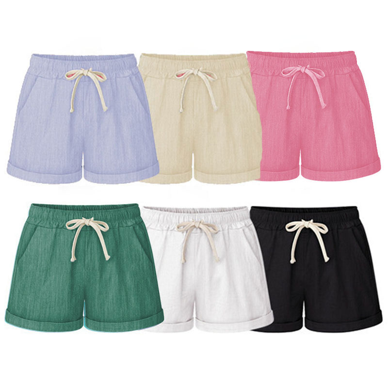 Summer Women Wide Leg Shorts Cotton High Waist Drawstring Pockets Girl Casual Shorts Plus Size M-6XL BMF88