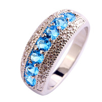 Generous Fashion New Lady Round Cut Blue Topaz 925 Silver Ring Jewelry For Women Size 6 7 8 9 10 11 12 Free Shipping Wholesale