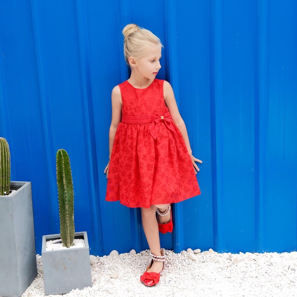 Zomer nieuwe kinderjurk Effen kleur Rood Kindermeisjes Jurken - Kinderkleding - Foto 2