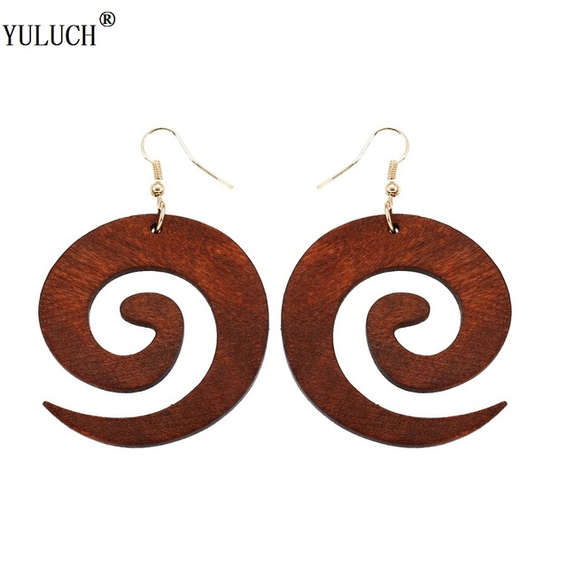 YULUCH 2018 New Design Natural Wooden Earrings Snail Shell Drop Dangle Wood Earrings Fashion Jewelry For Girls Ladies Prom Party