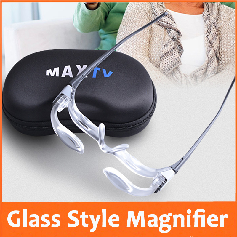 2.1X Goggle Glass Style Reading Repair Magnifier Loupe Magnifying Glass for Old Man Watching TV Reading Newspaper