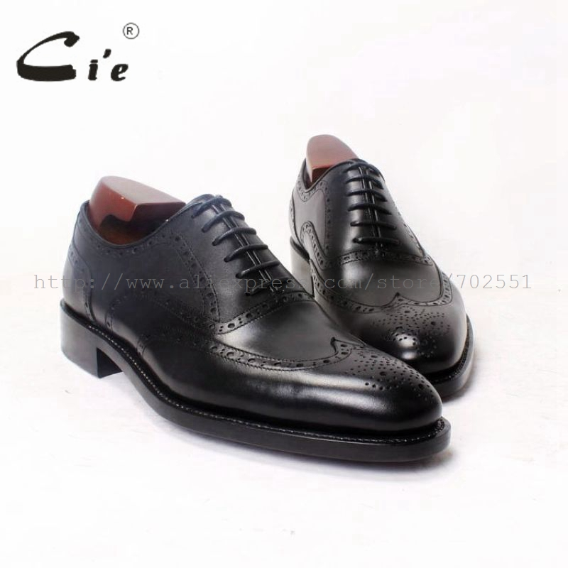 cie Round Toe Full Brogues Solid Black Oxfords 100%Genuine Calf Leather Bespoke Men Shoe Handmade Custom High Quality Flat OX370 cie free shipping handmade tassels round toe full brogues slip on loafer calf leather men shoe leather bottom breathableloafer79