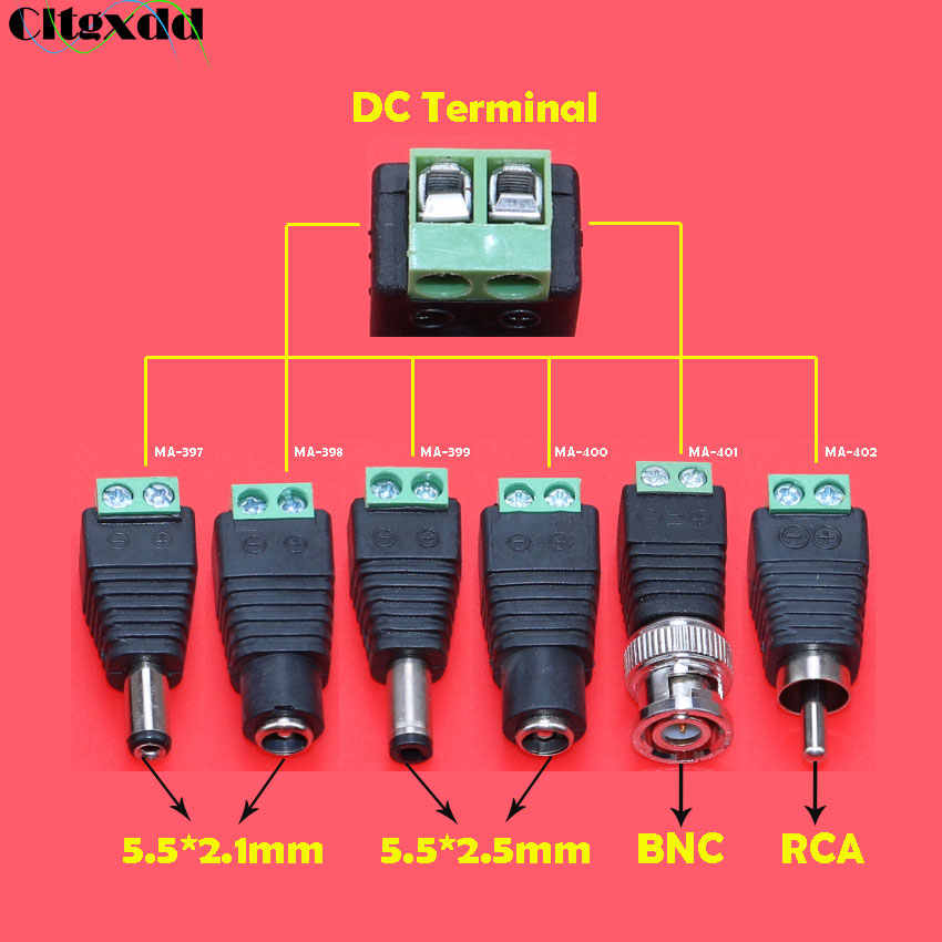 1PC Female Male DC Power Jack 5.5 * 2.1 / 5.5*2.5 BNC RCA to DC Crimp Terminal Block Plug Connector Adapter for CCTV Camera Wire
