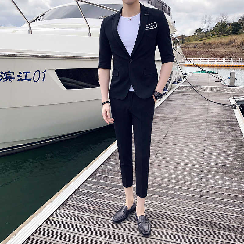 (Куртка + штаны) Летний повседневный костюм корейский рукав ночной клуб Повседневный стилист волос Тонкий маленький костюм Жених мужское платье для приема