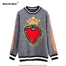 When We Retro Runway Fashion Sweater Women 2018 New Winter Wool Pullover Heart Crown Pattern High Street Jumper Knitted Top YC07(China)