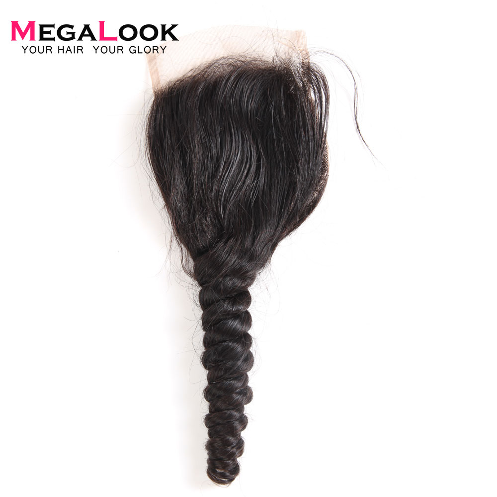 Megalook Lace Closure Human-Hair Malaysian Wave Hair-Light Brown 10-22inch Loose 100%Remy