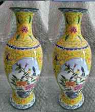 Ancient Chinese colored enamel (copper), a pair of birds and flowers vase