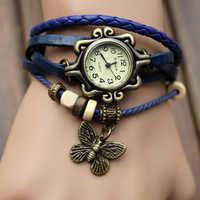 Vintage Weave Butterfly Women Watches Faux Leather Quartz Fashion Casual Wrist Clock Women Montre Femme Charm relogio feminino